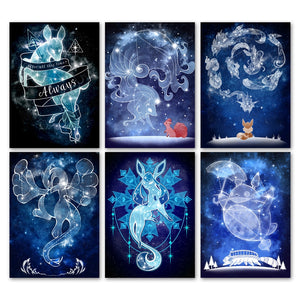 Totoro Anime Pokemon Fox Constellation Wall Art Canvas Painting Nordic Posters And Prints Wall Picture For Living Room Decor