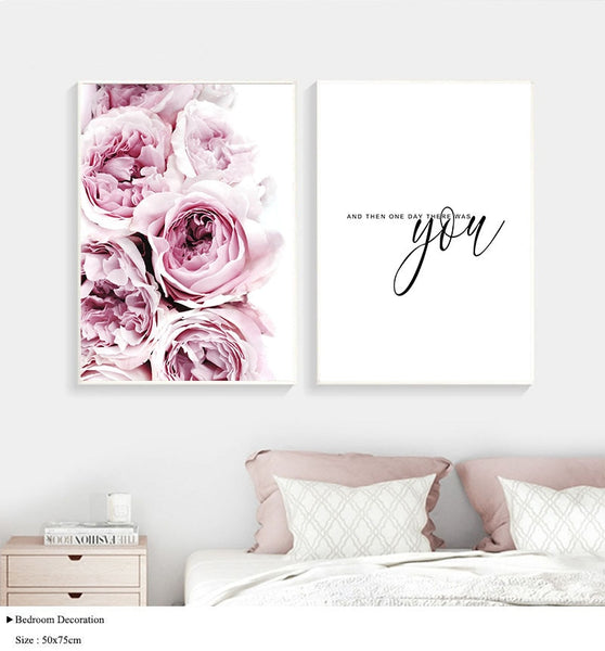 Flower Canvas Poster Nordic Decoration Peony Floral Wall Art Print Painting Decorative Picture Scandinavian Home Decor Love Sign