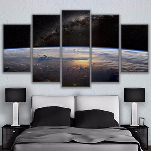 Hd Print Canvas Painting Stick On The Wall 5 Panel Beautiful Planet Landscape For Living Room Home Decor Modular Frame Picture
