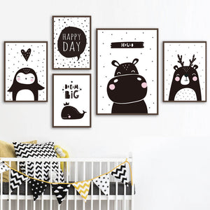 Hippo Bear Penguin Whale Wall Art Canvas Painting Black White Nordic Posters And Prints Cartoon Wall Pictures For Kids Boy Room