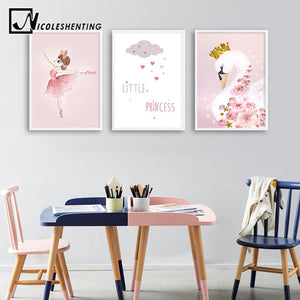 Swan Dancer Wall Art Canvas Poster Nursery Print Minimalist Painting Decorative Picture Nordic Baby Girl Bedroom Decoration