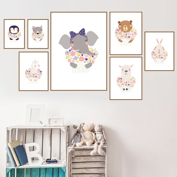 Elephant Bear Rabbit Alpaca Flower Wall Art Print Canvas Painting Nordic Posters And Prints Animal Wall Pictures Kids Room Decor