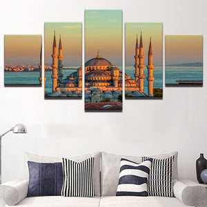Canvas Painting Modular Picture Wall Art Home Decoration 5 Panel Sultan Ahmed Mosque For Living Room Modern Printing Type