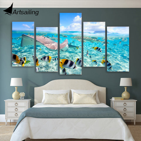 ArtSailing 5 panel tropical fishes sea ocean painting wall art 5 piece Canvas art canvas painting for living room ny-2795