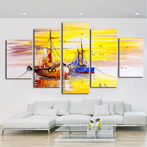 Painting Calligraphy Wall Framework Poster Fashion 5 Piece Boat Art Canvas Prints Landscape Style Tableau Pictures Home Decor
