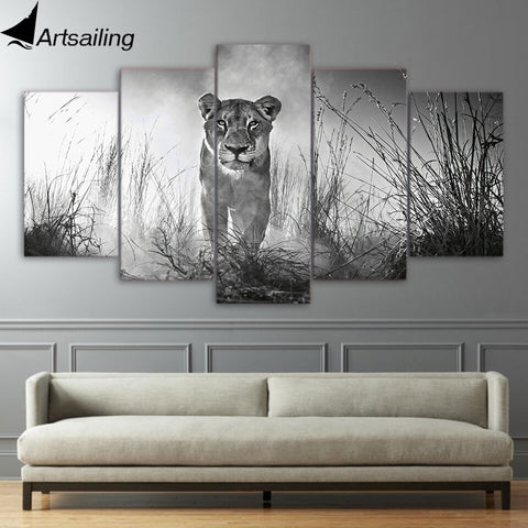 5 Piece Canvas Art HD Print Home Decor lioness female Paintings For Living Room Wall Poster Picture Free Shipping UP-2301C