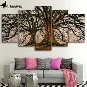 5 Panel Painting Canvas Wall Art Dead Tree Picture Home Decoration Living Room Canvas Print Painting Canvas Art
