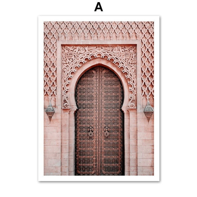 Morocco Door Flower Plant Desert Girl Nordic Posters And Prints Wall Art Canvas Painting Wall Pictures For Living Room Decor