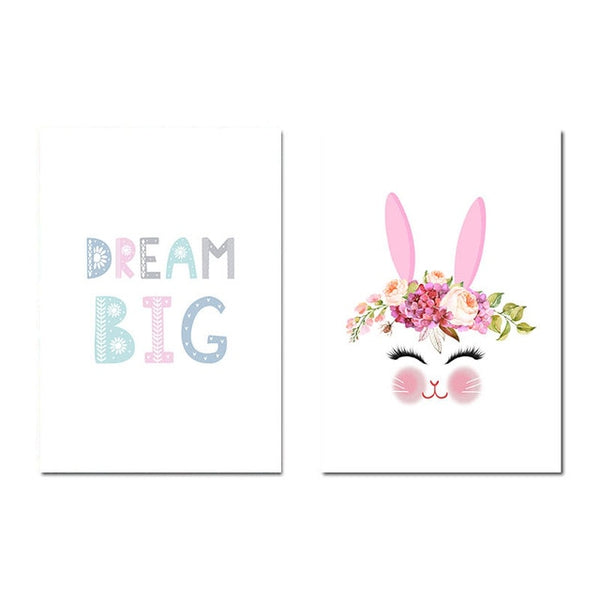 Baby Nursery Canvas Art Poster Flower Rabbit Decorative Print Wall Painting Decoration Picture Nordic Kids Bedroom Decoration