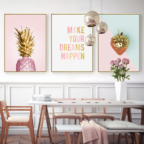 New Fruit Banana Pink Pineapple Creative English Canvas Painting Art Abstract Print Poster Picture Wall Home Decoration