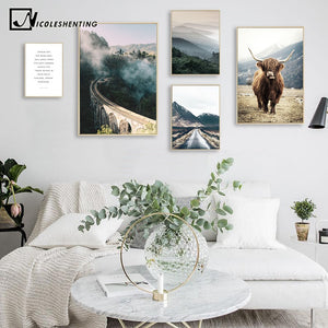 Wall Art Landscape Canvas Poster Nordic Nine Arch Bridge Foggy Forest Print Painting Scandinavian Decoration Picture Home Decor