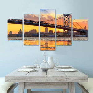 Printed Modular Picture Large Canvas 5 Panel Bridge Painting For Bedroom Living Room River Landscape Home Wall Art Decor