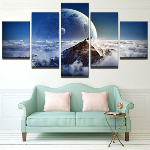 Large Poster HD Printed Painting Canvas 5 Panel Planet Landscape Print Home Decoration Wall Art Modular Picture For Living Room