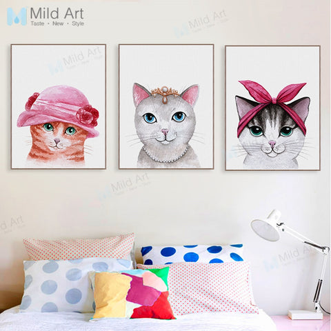 Cute Fashion Animal Grey Cat Princess Poster Print Cartoon Children Room Wall Art Picture Home Deco Canvas Painting No Frame