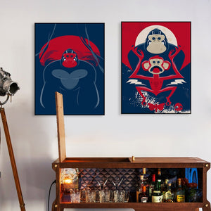 Hip Hop Hipster Animals Gorilla Chimpanzee Monkey Posters Prints kids Room Wall Art Pictures Home Decor Canvas Painting No Frame