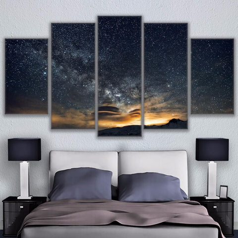 Fashion Canvas Painting Wall Art Prints Home Decoration 5 Panel The Starry Sky Landscape Modular Pictures For Living Room Framed