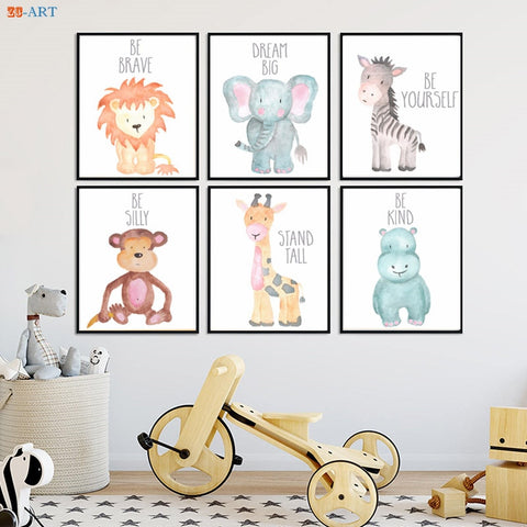 Zero Clock Baby Animals Poster Canvas Painting Safari Animal Painting Quote Leaves Print Baby Shower Gift Wall Art Nursery Decor