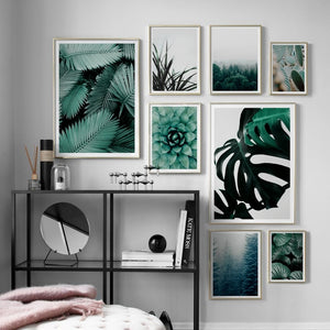 Forest Cactus Monstera Leaves Succulents Plants Nordic Posters And Prints Wall Art Canvas Painting Wall Pictures For Living Room