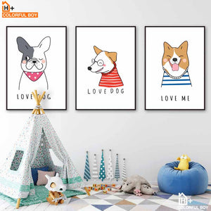 Cartoon Dog Love Quotes Wall Art Canvas Painting Nordic Posters And Prints Canvas Art Animals Wall Pictures Baby Kids Room Decor