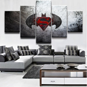 Modern Home Wall Decor Canvas Print Painting 5 Panel Movie Batman Superman Dawn of Justice Wall Art Picture For Home Decorative