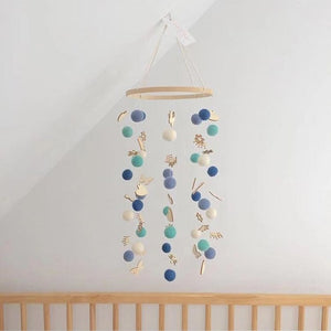 DIY Colorful Balls Bed Bell Rotating Baby Rattles Crib Mobiles Holder Arm Bracket Music Box Mom Handmade Wind Chime Toy For Baby