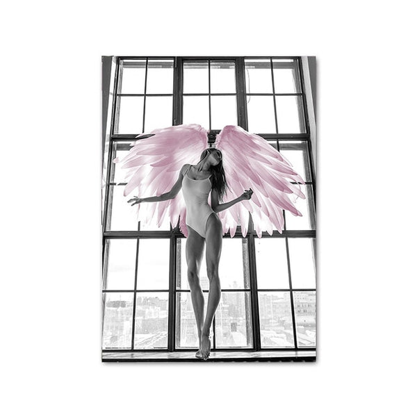 Pink Rose Flower Angel Wing Picture Scandinavian Fashion Poster Nordic Print Wall Art Canvas Painting Modern Living Room Decor