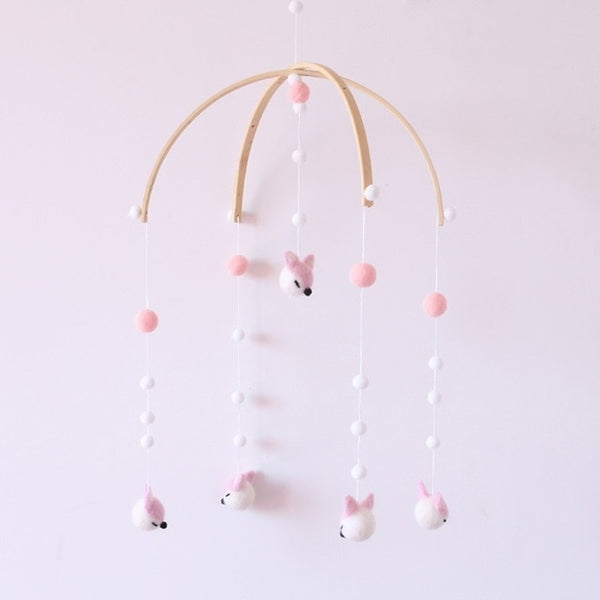 Baby Rattles Cute Cartoon Mobile For Baby Crib Wooden Felt Baby Toy For Newborns Wind Bell Baby Room Decoration Photography Prop