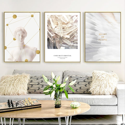 Nordic Figure Plaster Statue Feather Back Combination Canvas Painting Art Abstract Print Poster Picture Wall Home Decoration