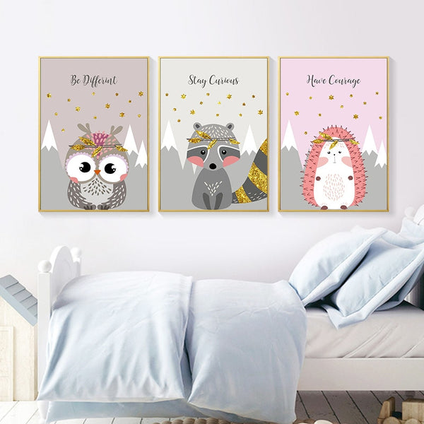 Woodland Animal Picture Owl Fox Bear Nursery Children Poster Canvas Wall Art Print Painting Nordic Kids Baby Bedroom Decoration