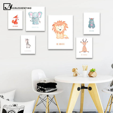 Cute Watercolor Woodland Animal Picture Nursery Quotes Poster Canvas Wall Art Print Painting Nordic Kids Baby Bedroom Decoration