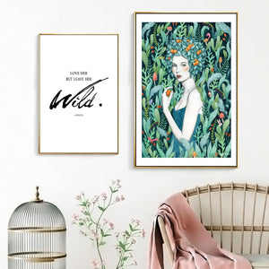 Color Fowers Leaves Girl Inspirational Phrase Canvas Painting Print Poster Picture Wall Nordic Minimalist Home Decoration