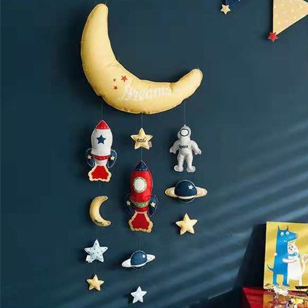 Star Moon Rocket DIY Bed Bell Toys Mom Handmade Baby Toy Rotating Baby Rattles Crib Mobiles For Newborns Holder Bed Musical Box