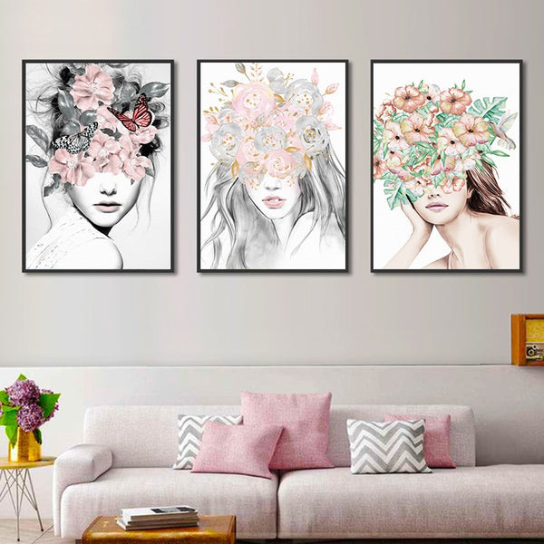 Nordic Minimalistic Abstract Fower Girl Canvas Painting Art Print Poster Picture Wall Living room Home Decoration