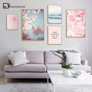 Cherry Blossom Flower Picture Scandinavian Poster Nordic Landscape Pink Ocean Print Wall Art Canvas Painting Living Room Decor