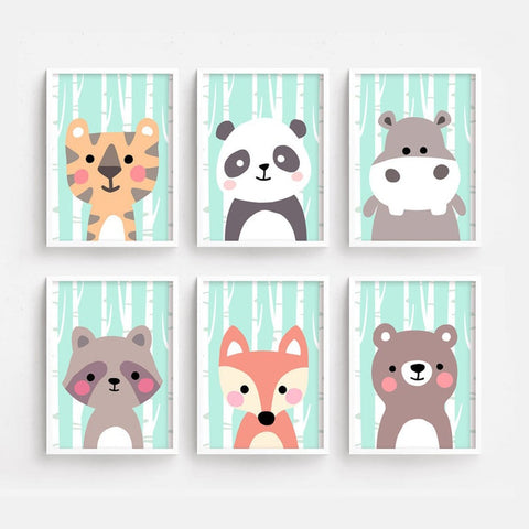 Bear Panda Raccoon Fox Hippo Tiger Nursery Nordic Posters And Prints Wall Art Canvas Painting Wall Pictures For Kids Room Decor