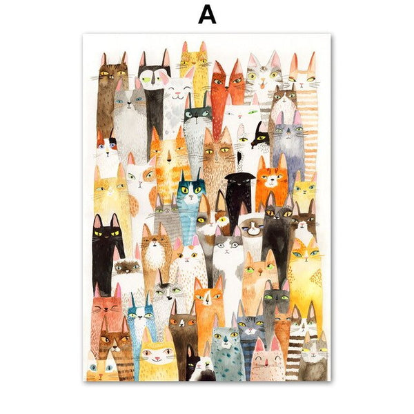 Colorful Cat Animals Wall Art Canvas Painting Cartoon Nordic Posters And Prints Wall Pictures Boy Girl Baby Kids Room Home Decor