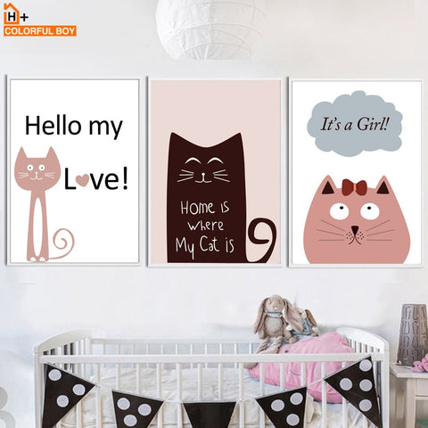 Kawaii Cat Girl Quote Nursery Wall Art Canvas Painting Nordic Posters And Prints Wall Pictures For Girl Boy Baby Kids Room Decor