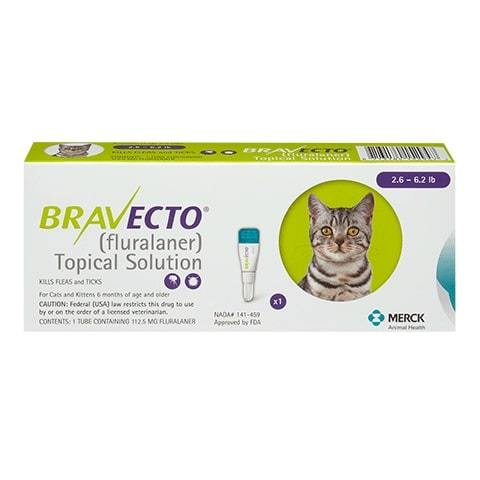 RX Bravecto Topical for Cats 2.6-6.2lb