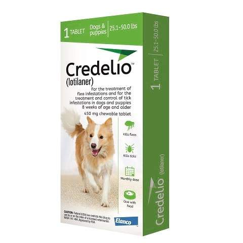 RX - Credelio (lotilaner) for Dogs 25.1 to 50.0 lbs - 1 Tablet