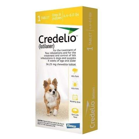 RX - Credelio (lotilaner) for Dogs 4.4 to 6.0 lbs - 1 Tablet