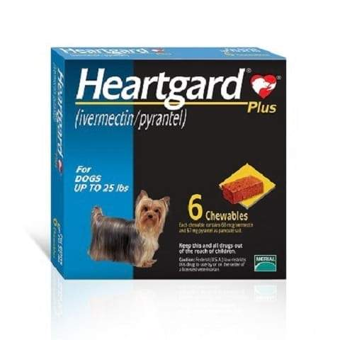 RX - Heartgard Plus Chewable Tablets for Dogs, up to 25 lbs - 6 Treatments
