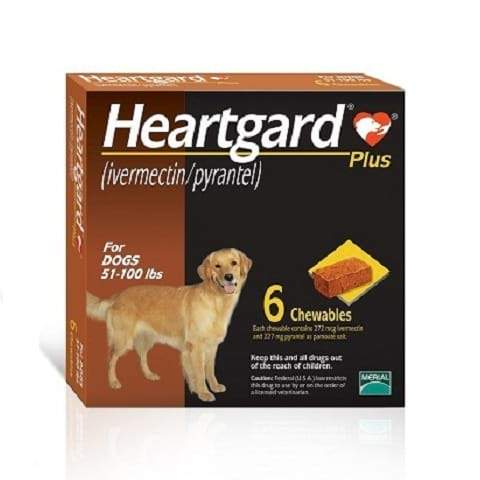 RX - Heartgard Plus Chewable Tablets for Dogs, 51-100 lbs - 6 Treatments