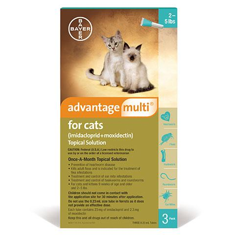 Advantage Multi Topical Solution for Cats, 2-5 lbs, 3 treatments