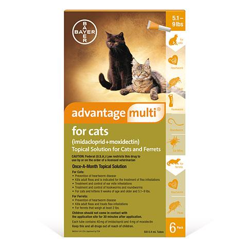 Advantage Multi Topical Solution for Cats, 5.1 - 9 lbs, 6 treatments