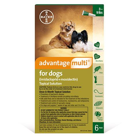 Advantage Multi Topical Solution for Dogs, 3 - 9 lbs, 6 treatments