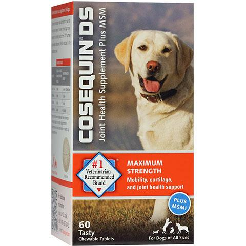 Nutramax Cosequin Maximum Strength (DS) Plus MSM Chewable Tablets Joint Health Supplement for Dogs 60 Count