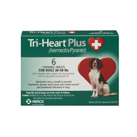 RX - Tri-Heart Plus for Dogs 26-50 lbs, 6 Treatments