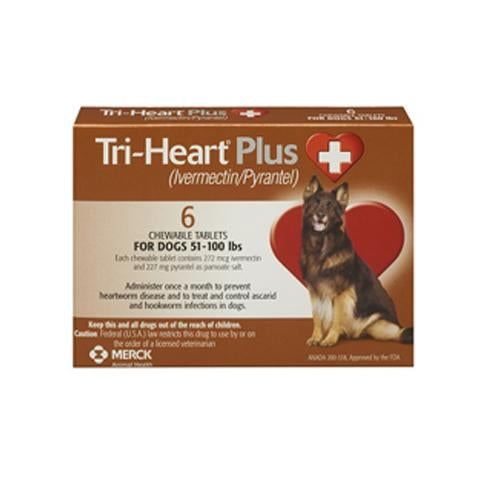 RX - Tri-Heart Plus for Dogs 51-100 lbs, 6 Treatments