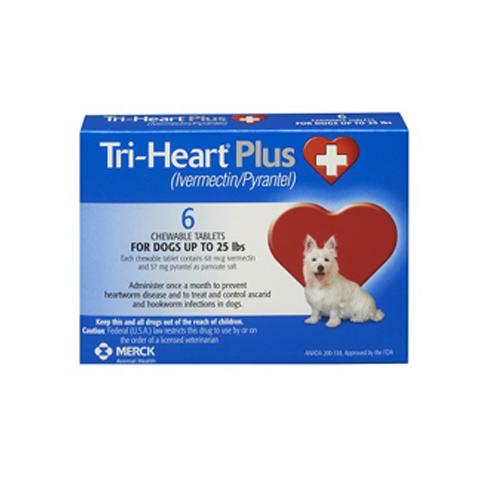 RX - Tri-Heart Plus for Dogs up to 25 lbs, 6 Treatments