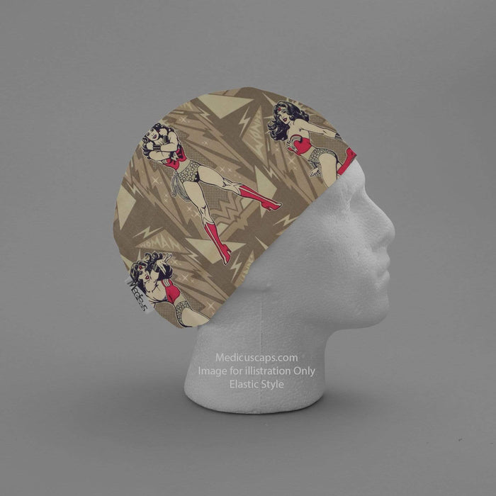 DC Comic Wonder Woman Grey Power Scrub Cap - Medicus Scrub Caps